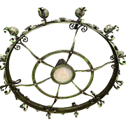 Huge Wrought Iron Chandelier with Twelve Torch Lights and One Centre Light