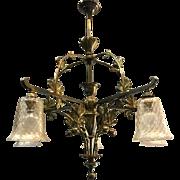 Art Nouveau Gilt Bronze Chandelier Chestnut Branches Leaves Motif