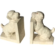 Pair Art Deco 1930′s Ceramic  Bookends Scottie Dogs