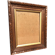 Arts and Crafts Carved Wood Picture Frame