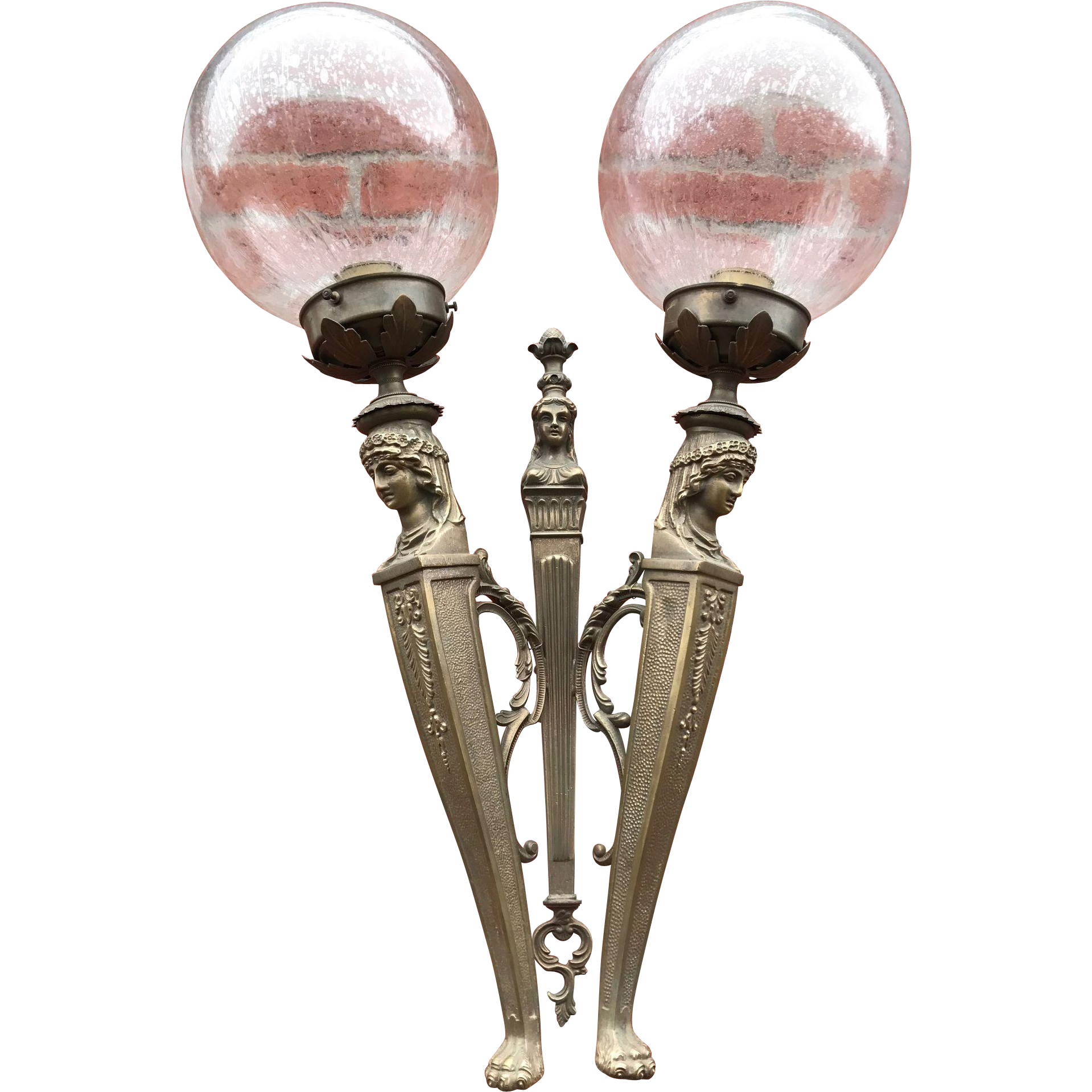 Pair Empire Bronze Female Figure Wall Sconces