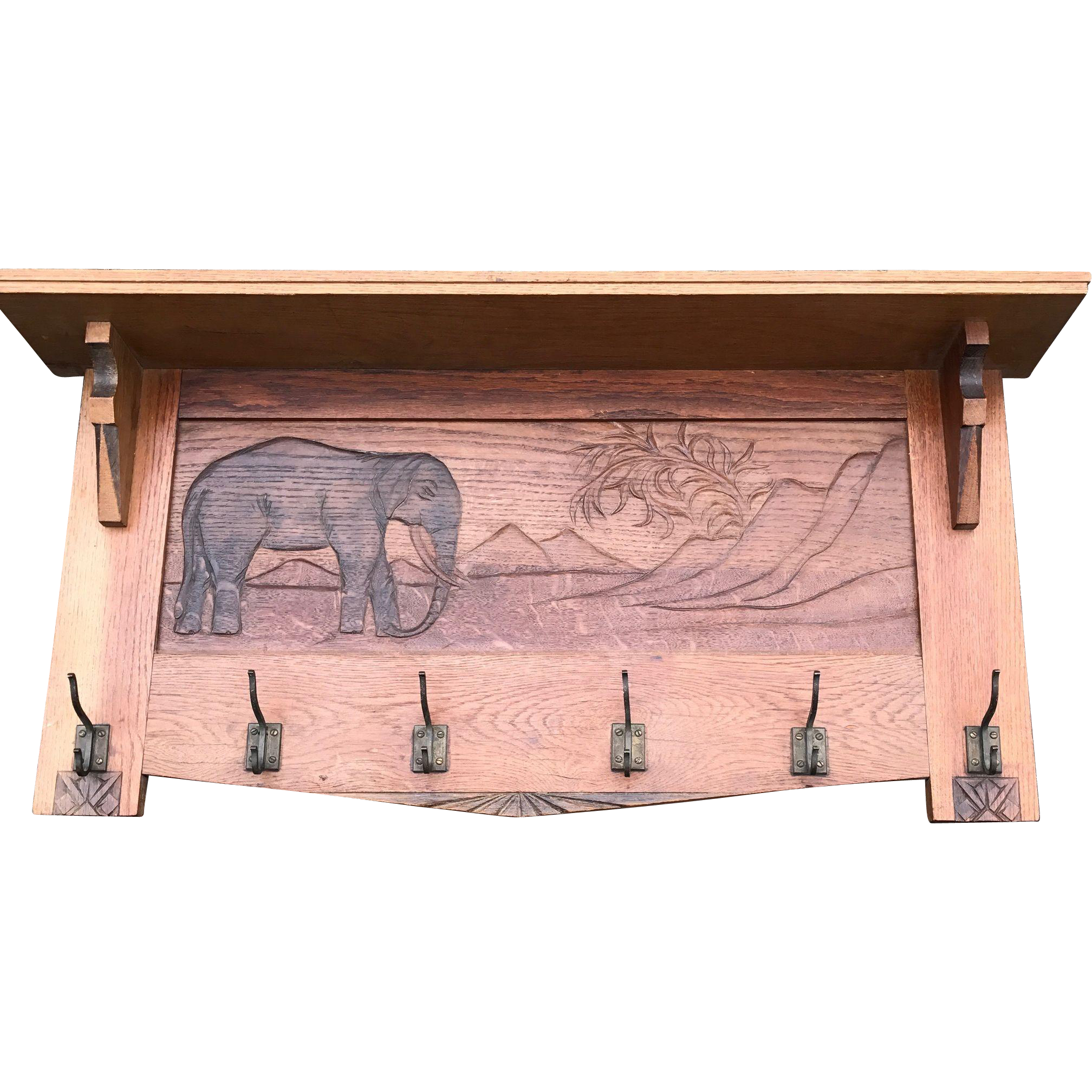 Large Coat Rack with Carved Landscape with Elephant