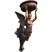 Late 19th Century Wall Lamp with Winged Mermaid Angel Figure Sconce
