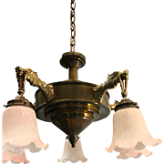 Art Deco Bronze - Brass Five Dragon Pendant Light