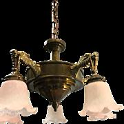 Art Deco Bronze - Brass Five Dragon Pendant Light
