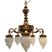 Early 1900 Finest Quality Gilt Bronze Figure Five Arms Pendant Light
