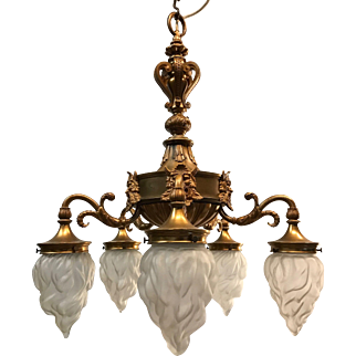 Early 1900 Finest Quality Gilt Bronze Figure Five Arms Pendant Light