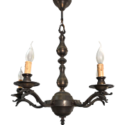 1920s. Unpolished Brass Five Bird Head Pendant Light Ceiling