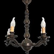 1920s. Unpolished Brass Five Bird Head Pendant Light Ceiling