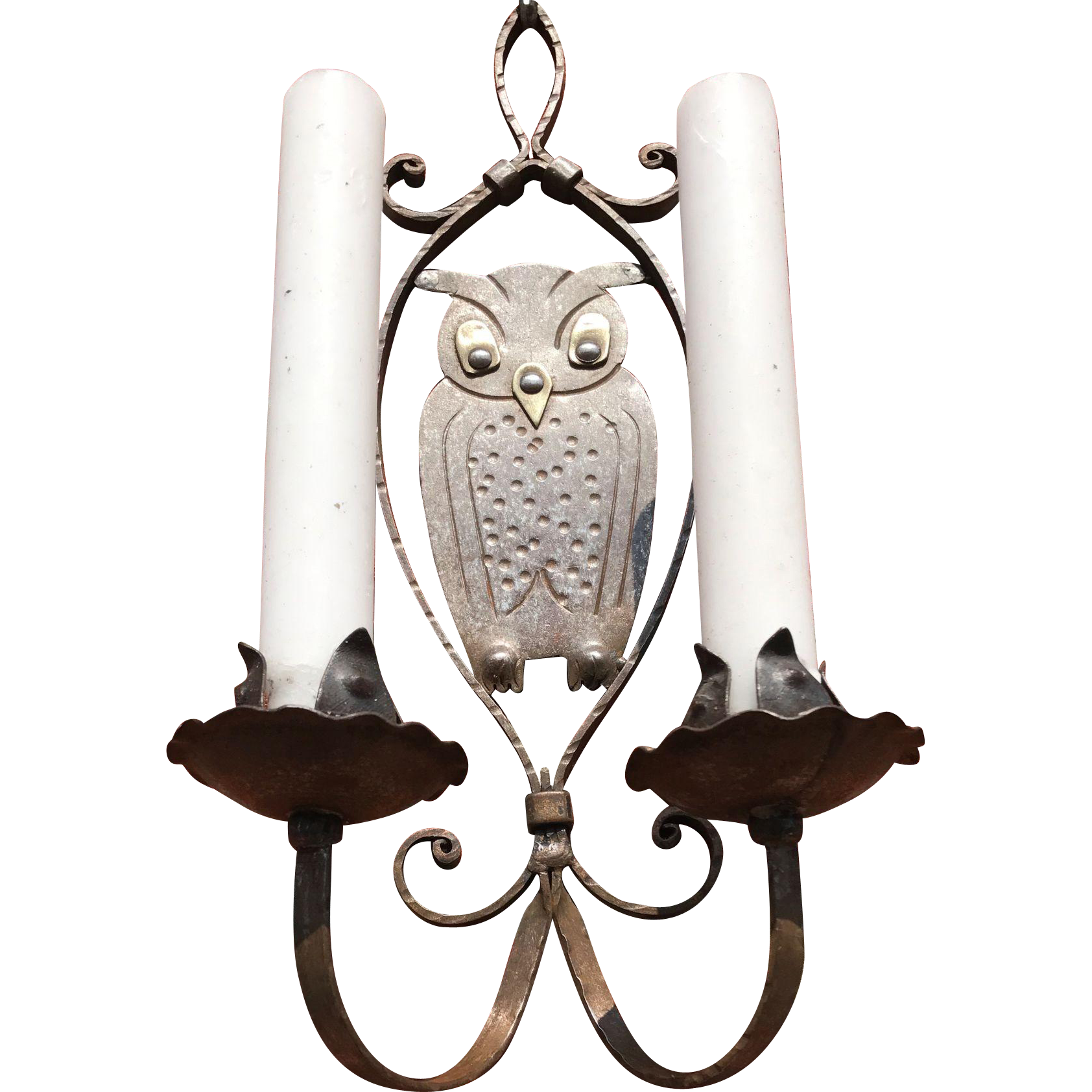 Hammered Iron Two Candle Owl Wall Sconce Goberg