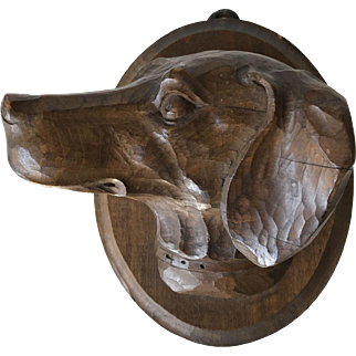Early 1900 Black Forest Carved  Hunt Dog Wall Plaque