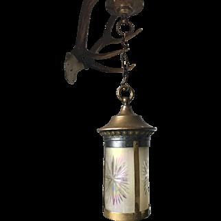 beautiful Art Nouveau Brass and Hand Engraved Glass Pendant Light Ceiling Lamp