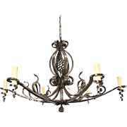 Forged in Fire Wrought Iron Six-Light Chandelier / Ceiling Lamp with Swan