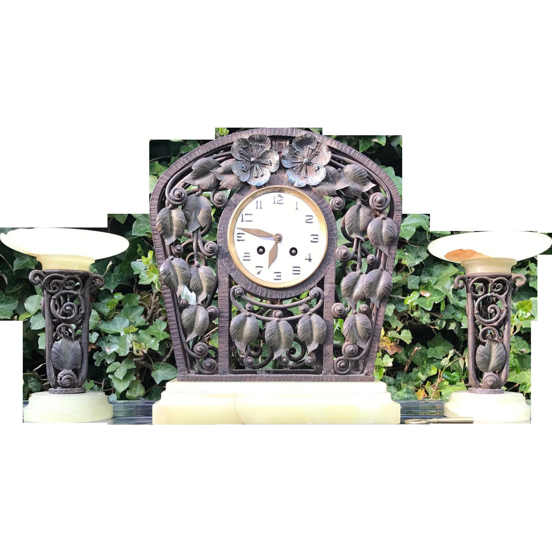 Museum Quality Floral Design Wrought Iron Art Nouveau Clock Set
