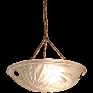 French Art Deco Pressed Glass Pendant Light