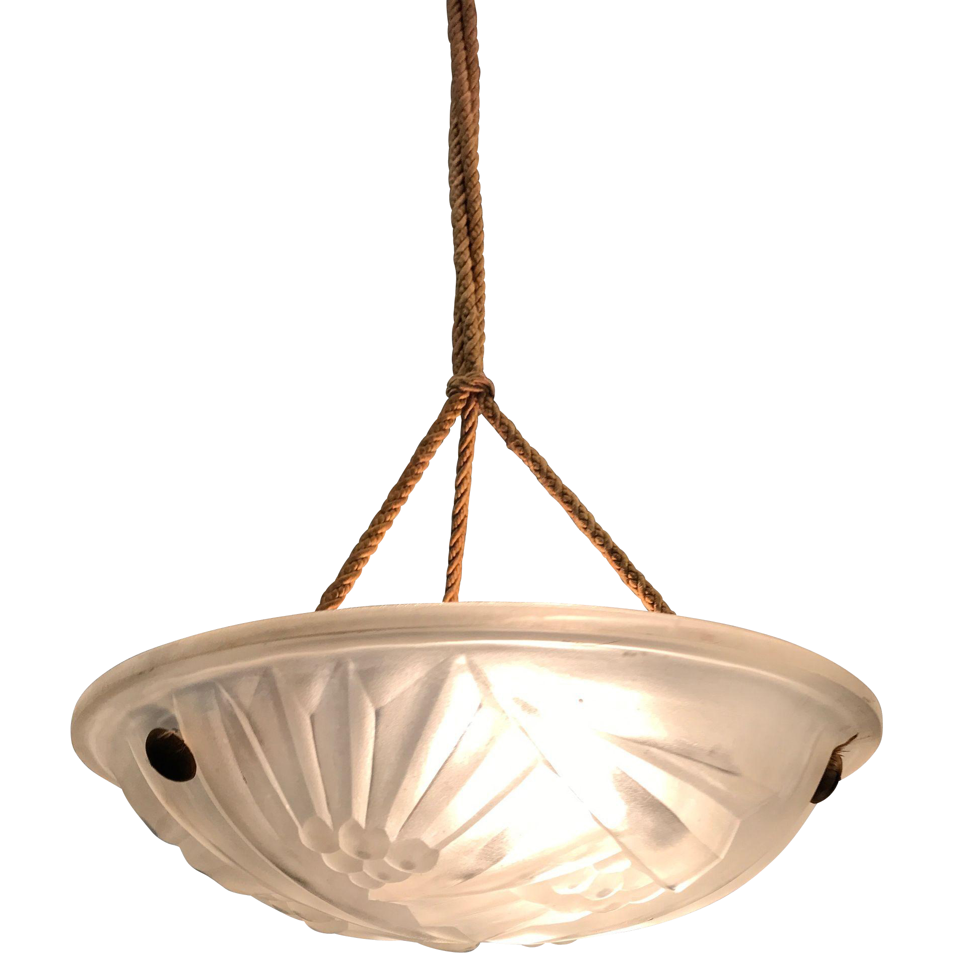 French Art Deco Pressed Glass Pendant Light