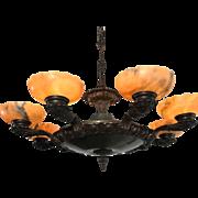 Early 1900 Art Deco Alabaster & Brass Pendant Light Ceiling