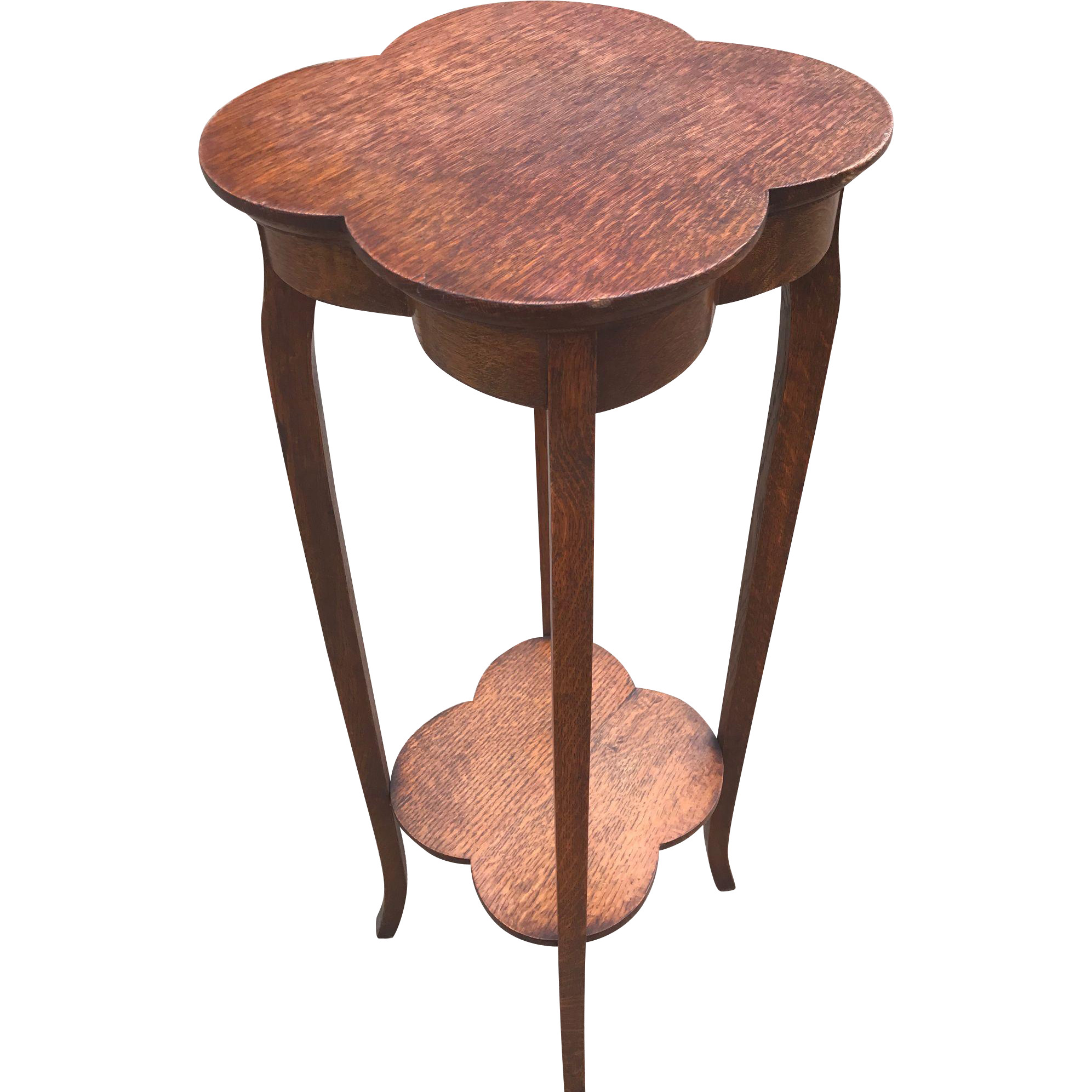 Arts & Crafts Early 1900 Antique Hand-Crafted Solid Oak Flower or Plant Table Sculpture Stand Clover Leaf Top