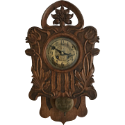 Art Nouveau Jugendstil Style Carved Wall Clock Flower Design early 1900.