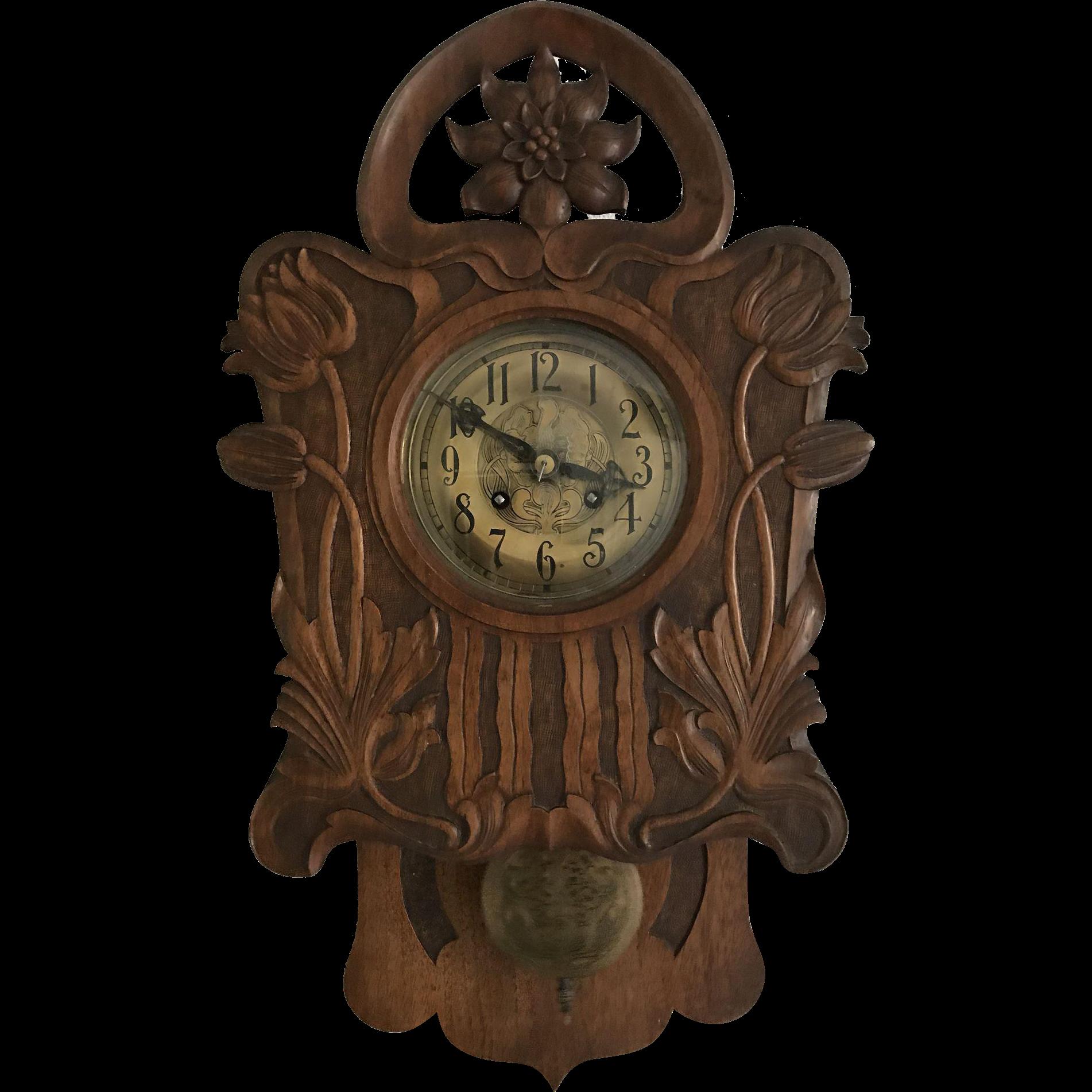 Art Nouveau Jugendstil Style Carved Wall Clock Flower Design early 1900.