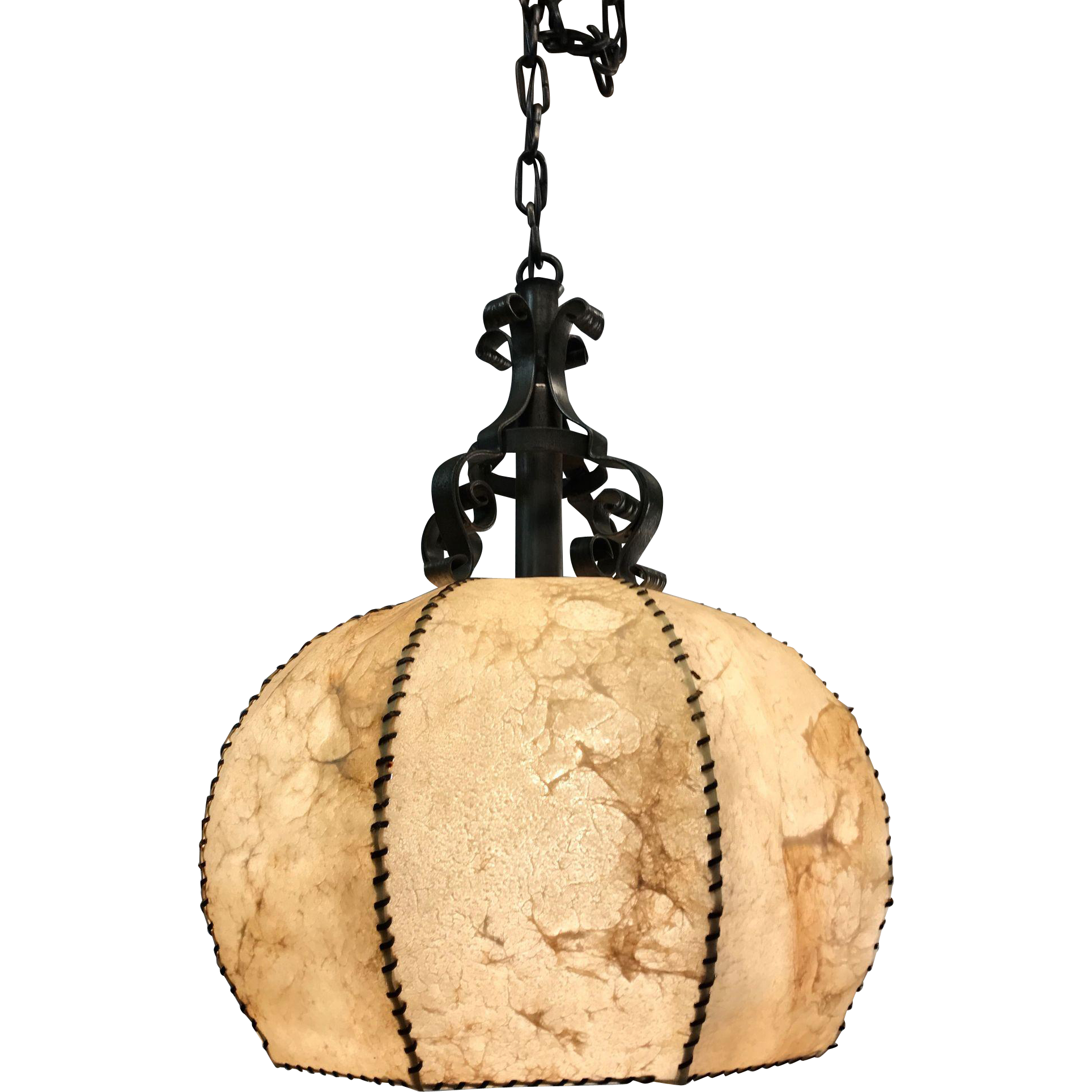 Good Looking Vintage Wrought Iron with Leather Pendant Light