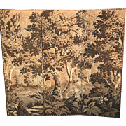 Antique Folding Tapestry Screen with Landscape Design