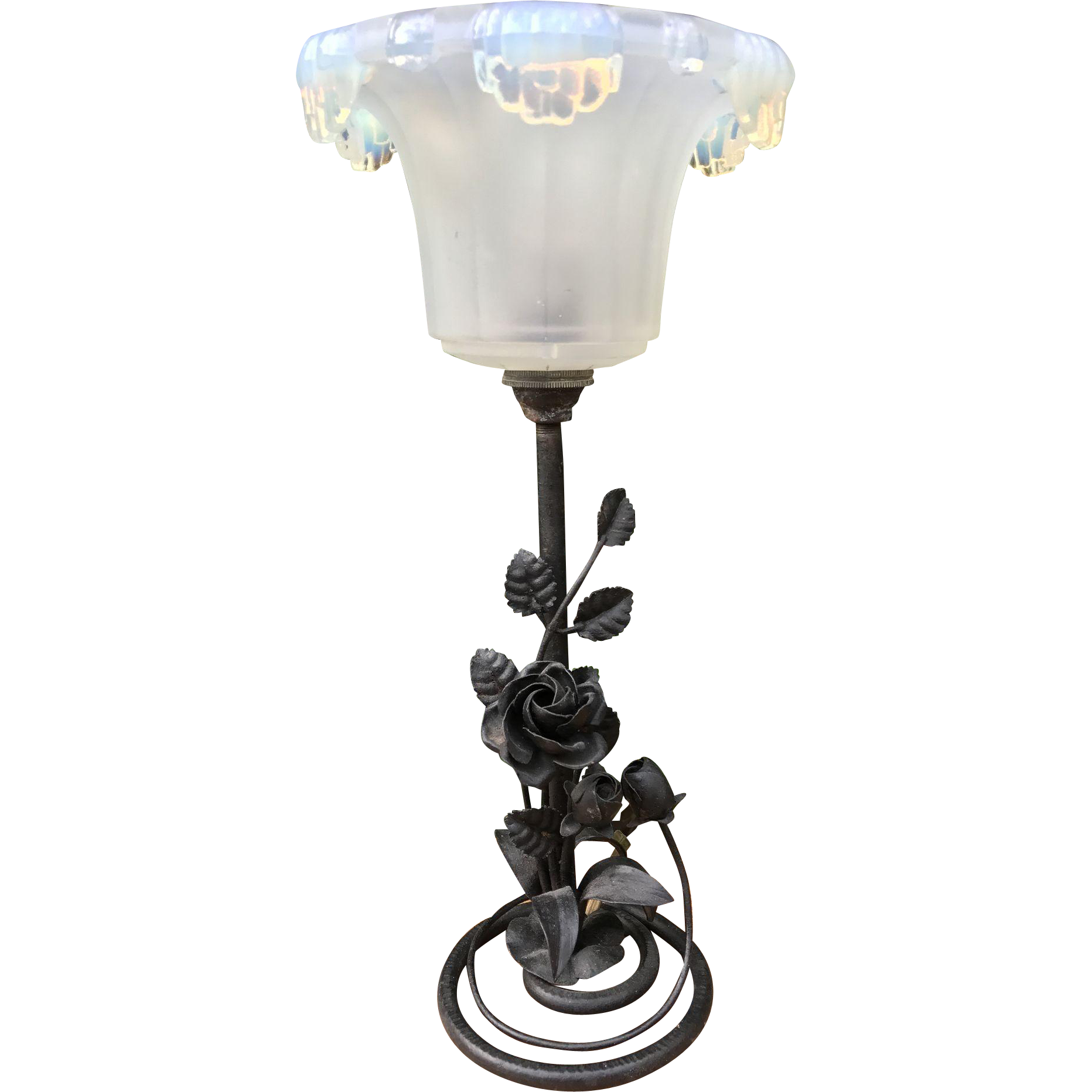 Forged in Fire wrought Iron Table or Desk Lamp Floral Design with Frosted Glass Shade
