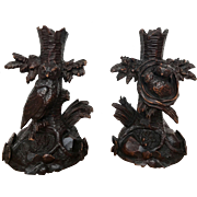 Antique Pair Black Forest Carved Candle or Flute Holders Stands with Owl and Nest