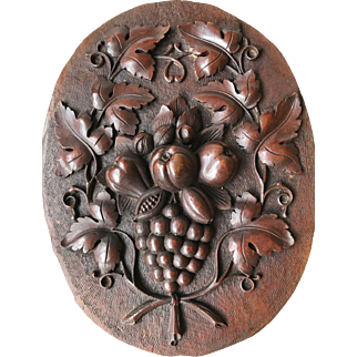 Antique Victorian Quality Carved Wood Wall Plaque