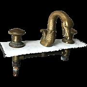Rare Vintage 1930 Bronze Swan Tap Double Handles Bathroom
