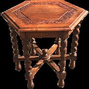 1920s Solid Oak, Hexagon Shape End or Coffee Table on a Barley Twist Base