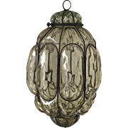 Antique Italian Mouth Blown Glass in Metal Frame Pendant Light
