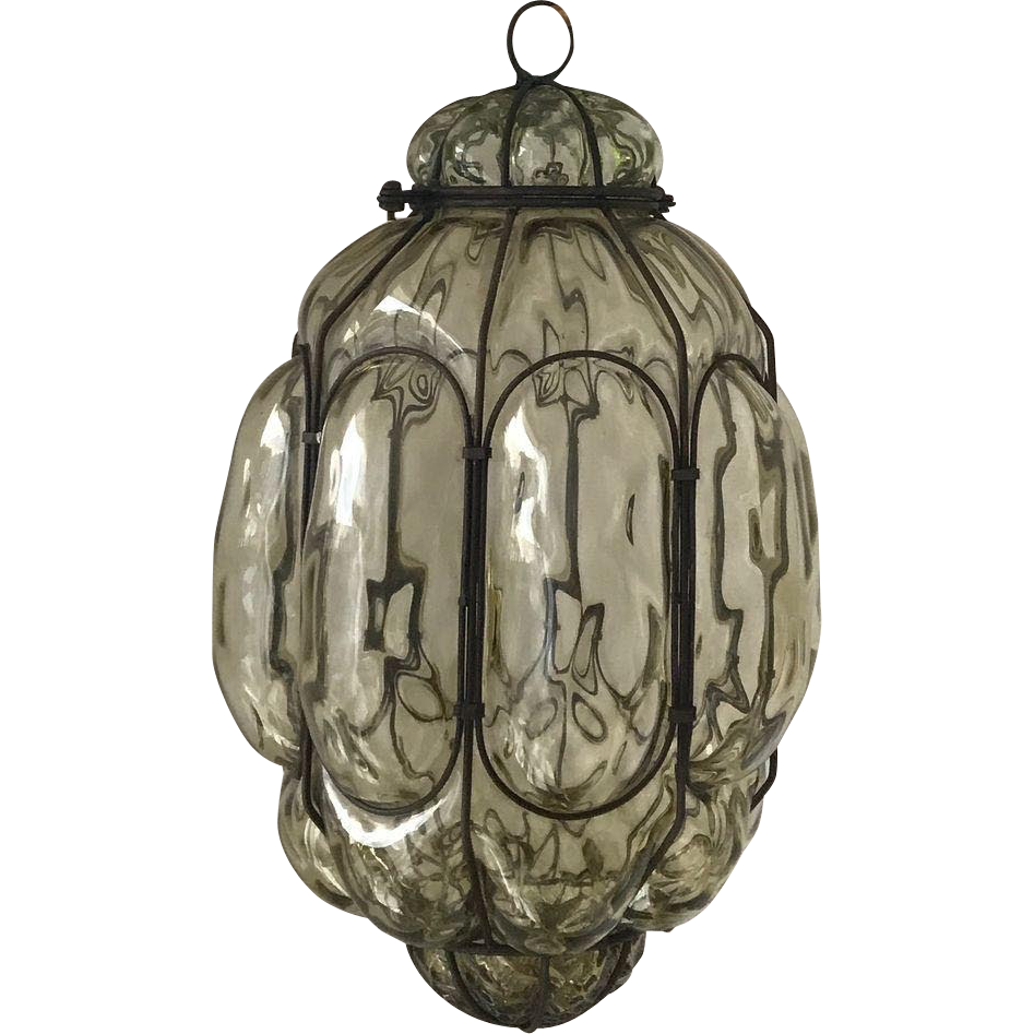 Antique Italian Pendant Light, Mouth Blown Glass in Metal Frame