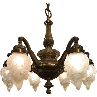 Stunning Shape Pendant Light Art Nouveau Bronze Chandelier