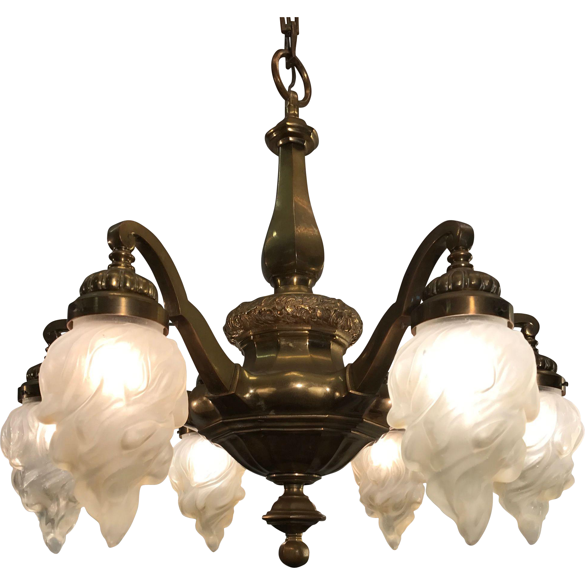 Stunning Shape Pendant Light Art Nouveau Bronze Chandelier