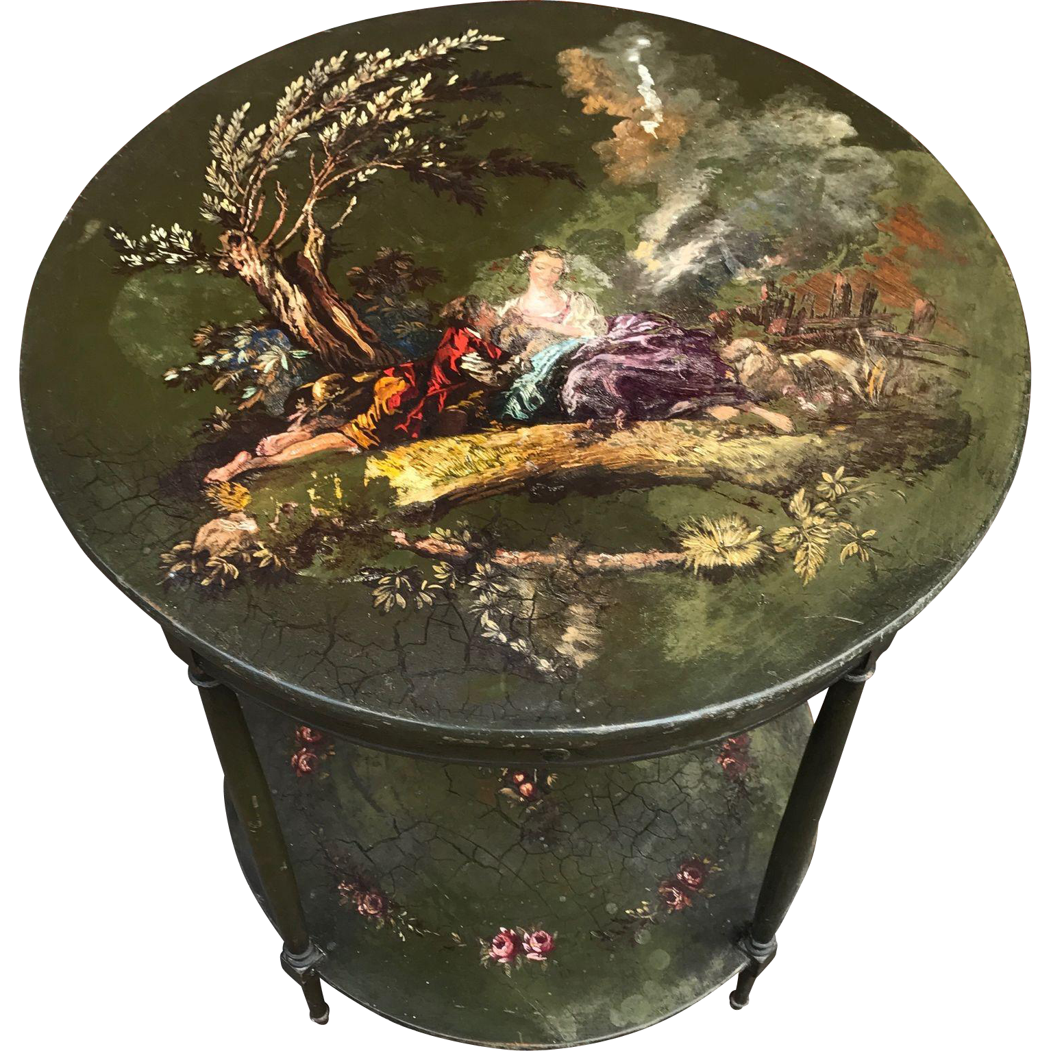 Beautiful Antique HandPainted Round Table Late 19th Century