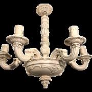 Early 1900 Art Nouveau Quality Carved Wood Pendant Light Chandelier