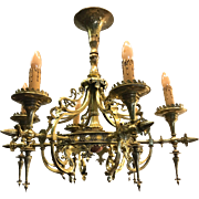 Art Nouveau Bronze Pendant Light Chandelier