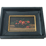 Antique painting Strawberries in Basket Oil on Wood Panel