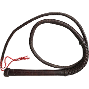 Vintage Dark Brown Leather Braided Horse or Bull Whip