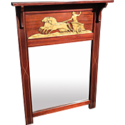 Neoclassical Empire Mirror in Mahogany Frame with Chariot
