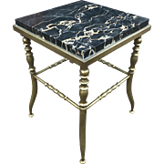 Small Mid Size Bronze Plant Stand or Table with Marble Top