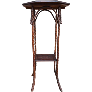 Antique Folk Art Rustic Branch Legs Carved Top Table / Stand