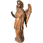 Antique Carved Wood Angel Gabriel Sculpture