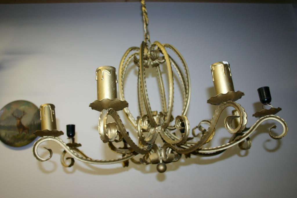 An Large Old Graceful Wrought Iron Queen Crown Chandelier