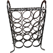 Mid-Century Vintage Wrought Iron Twelve Bottle Wine Rack