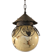Art Deco Wrought Iron with Marbled & Crackled Glass Globe Pendant Light Fixture