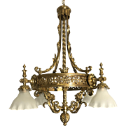 French Early 1900 Gothic Revival Bronze Chandelier / Fixture