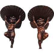 Couple of Early 1800 Carved Oak Cherub Wall Brackets