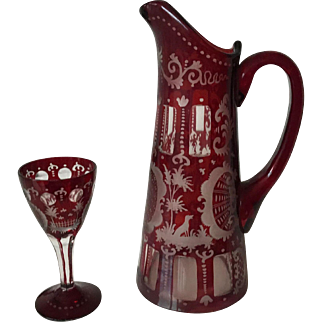 Antique Bohemia Red Cut Etched Crystal Pitcher Jug & Glass Hunting Scenes
